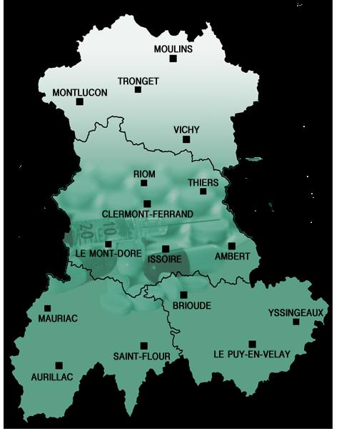 Structures de soin d'addictologie en Auvergne